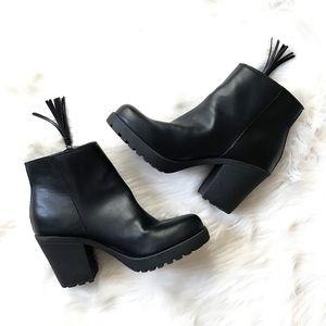 Madden Girl Como Black Platform Tassel Booties